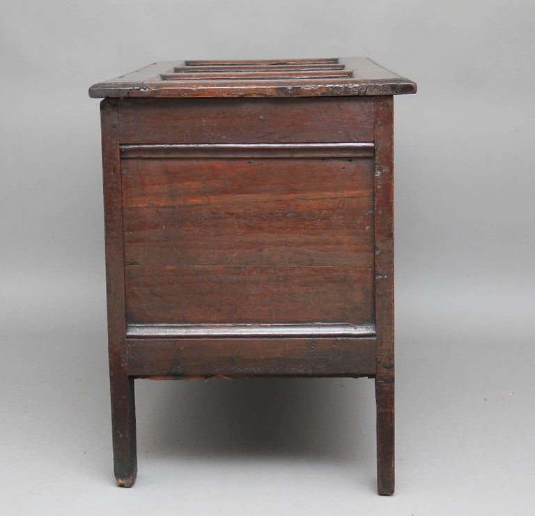 English 17th Century Carved Oak Coffer For Sale