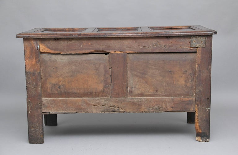 17th Century Carved Oak Coffer In Good Condition For Sale In Martlesham, GB