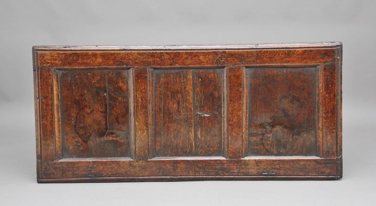 17th Century Carved Oak Coffer For Sale 1