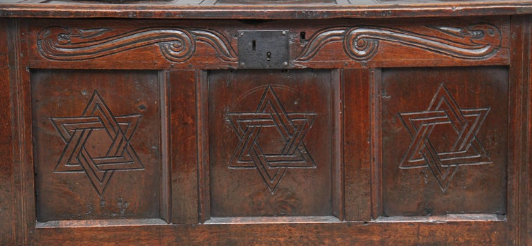 17th Century Carved Oak Coffer For Sale 2