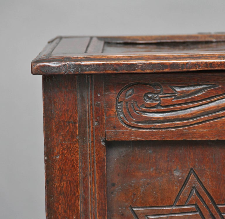 17th Century Carved Oak Coffer For Sale 3