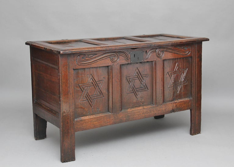 17th Century Carved Oak Coffer For Sale 4