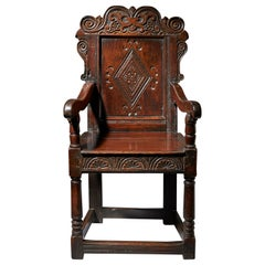 17th Century Carved Oak Wainscot Chair, the Yorkshire Chair