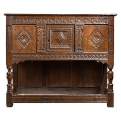 17th Century Charles II Carved Oak Livery Cupboard