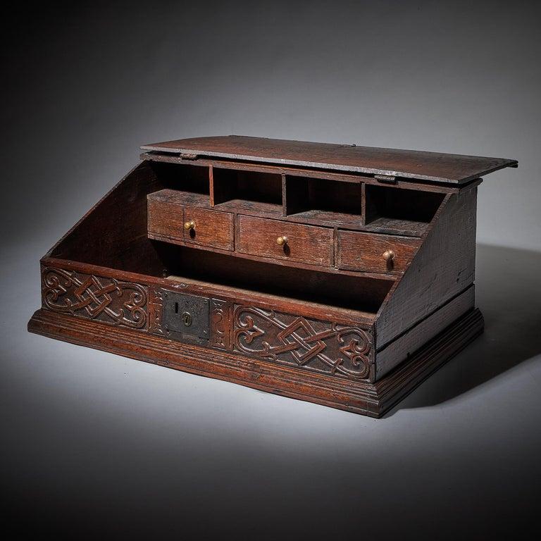 English 17th Century Charles II Carved Oak Writing Box or Desk Box circa 1660 England For Sale