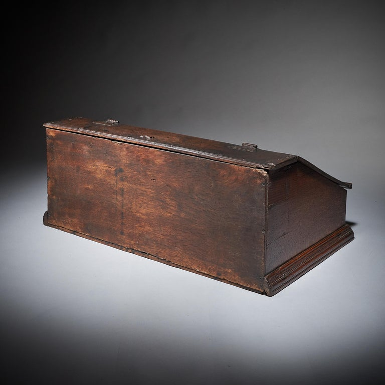 18th Century and Earlier 17th Century Charles II Carved Oak Writing Box or Desk Box circa 1660 England For Sale