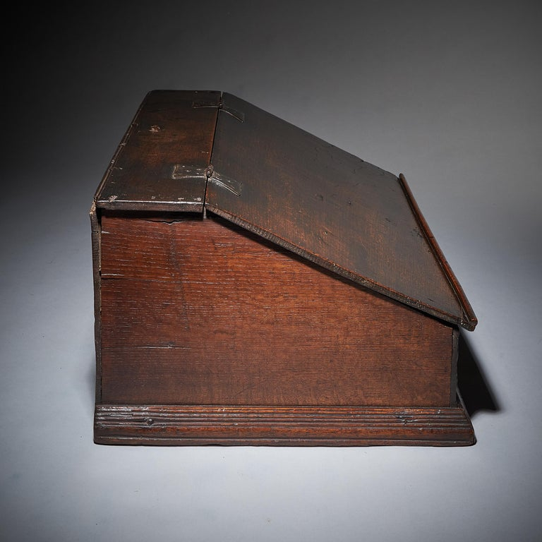 17th Century Charles II Carved Oak Writing Box or Desk Box circa 1660 England For Sale 1
