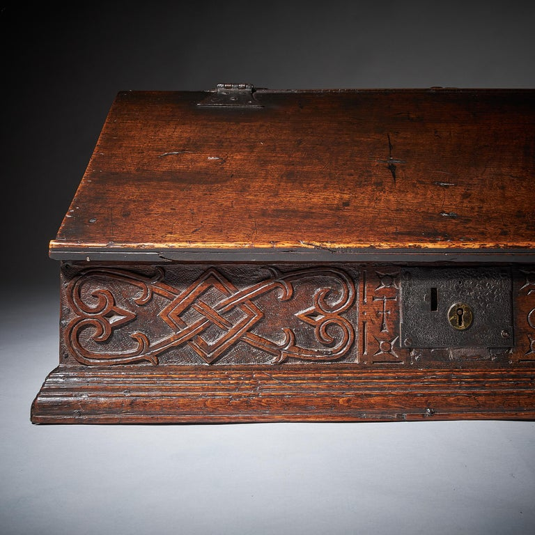 17th Century Charles II Carved Oak Writing Box or Desk Box circa 1660 England For Sale 2