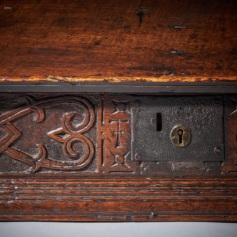 17th Century Charles II Carved Oak Writing Box or Desk Box circa 1660 England For Sale 3