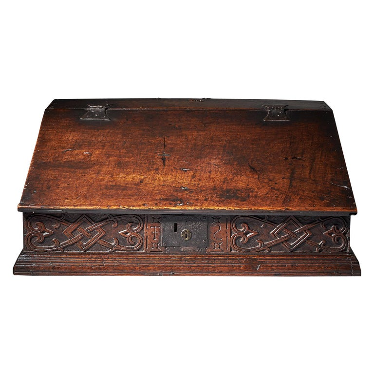 17th Century Charles II Carved Oak Writing Box or Desk Box circa 1660 England For Sale