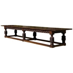 17th Century Charles II Oak Refectory Table Banquet Dining Table, circa 1660
