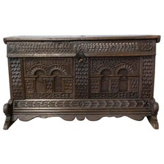 17th Century Chest or Coffer Carved Oak French Provincial Year 1689