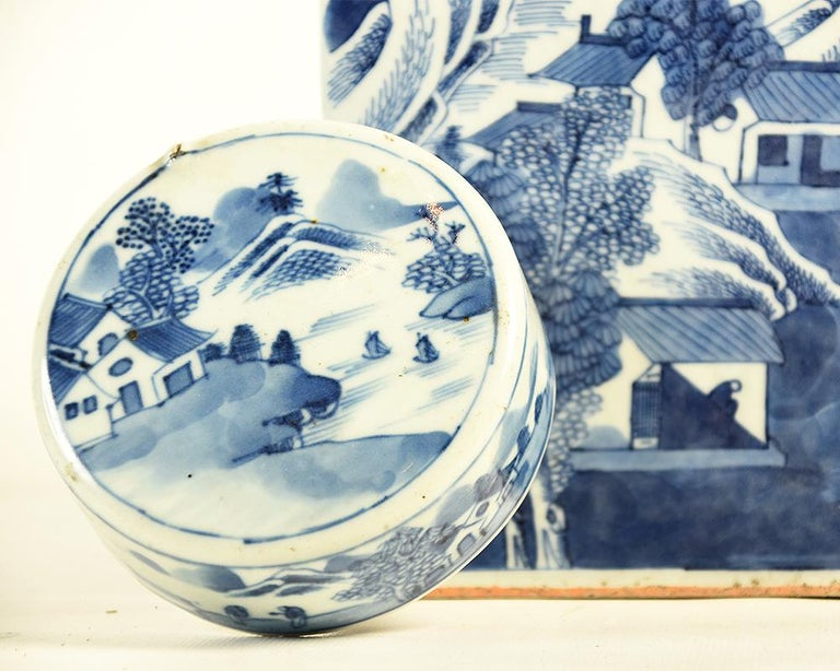 19th Century Chinese Kangxi Porcelain Tea Jar with Blue and White Underglaze For Sale 2
