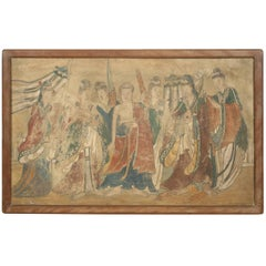 17th Century Chinese Mural Painting of Buddha Flanked by Female Attendants