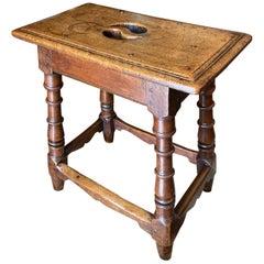 17th Century Choir Stool Seat Side Hallway Walnut Rustic Chair Antique Dealer LA
