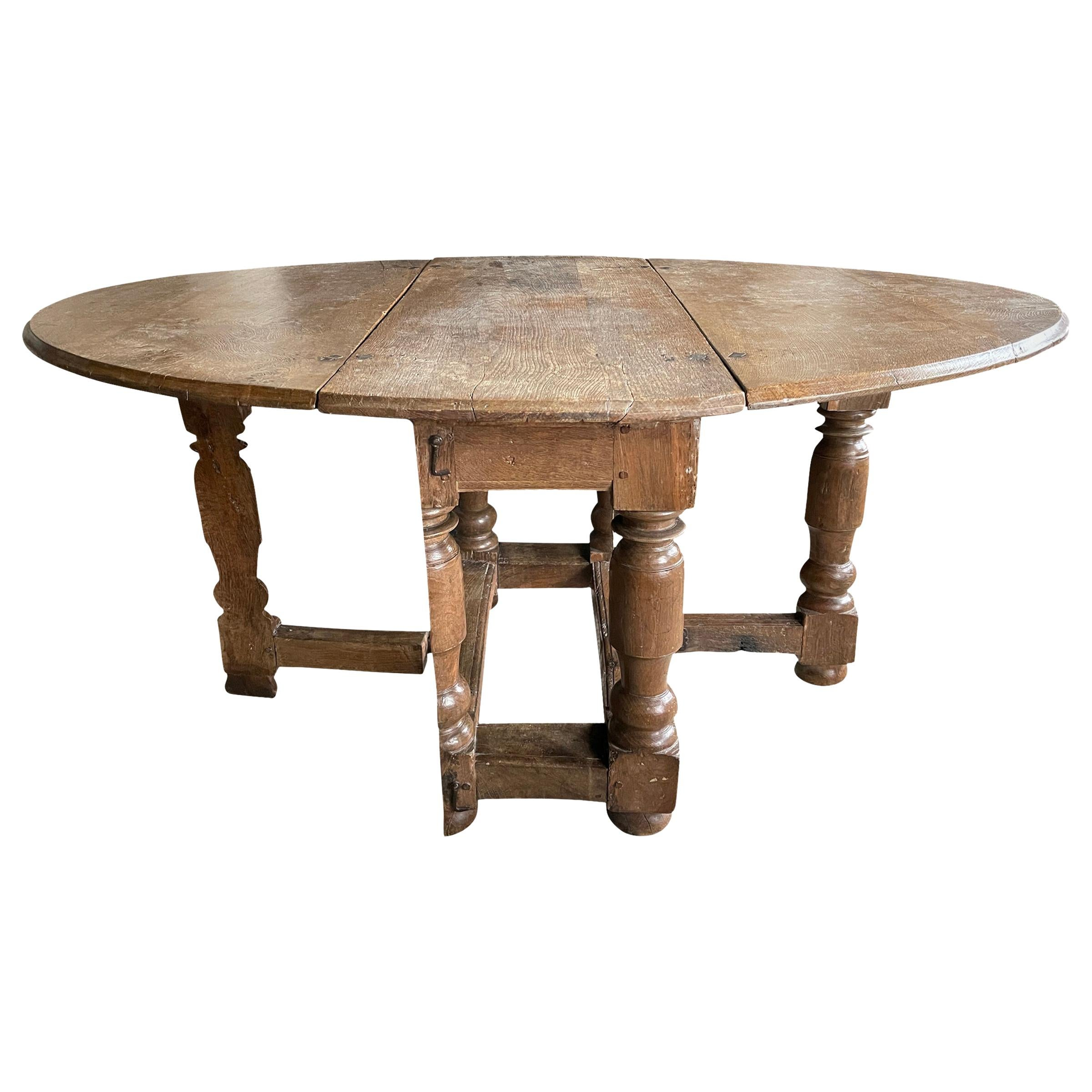 17th Century Danish Baroque Gateleg Table