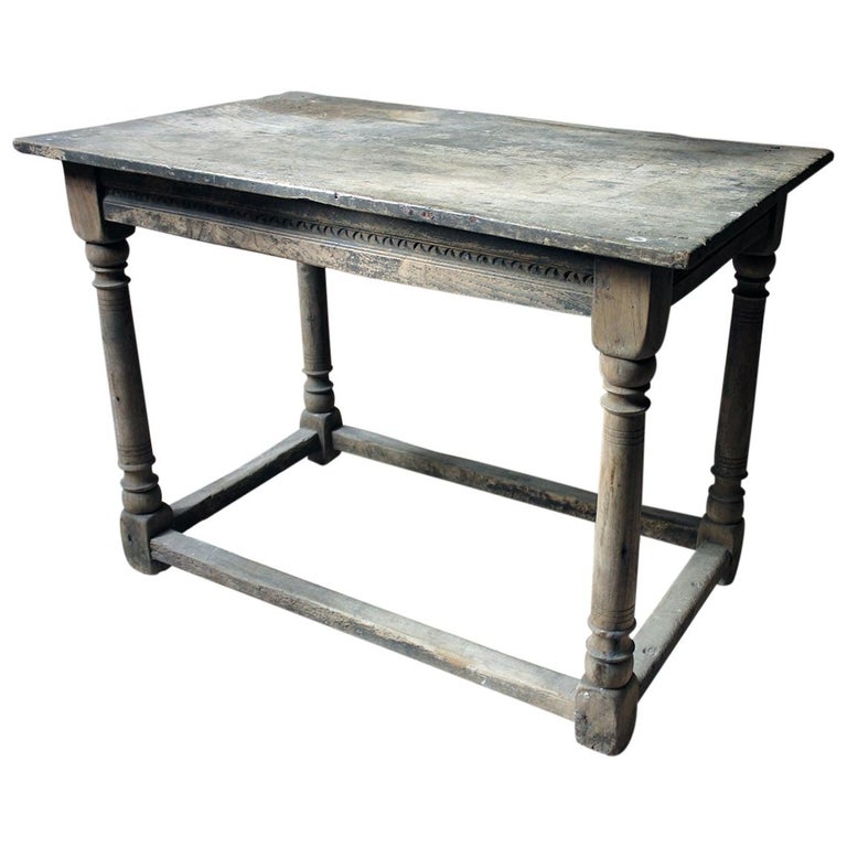 17th Century Dry Oak Charles II Period Side Table, circa 1680 For Sale
