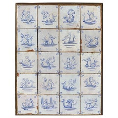 17th Century Dutch Delft Tiles of Mermaids, Mermen and Sea Creatures, Set of 20