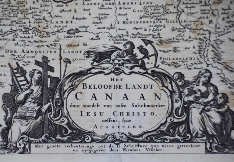 17th Century Dutch Map of the Holy Land at the Time of Jesus by Visscher In Good Condition For Sale In Alamo, CA