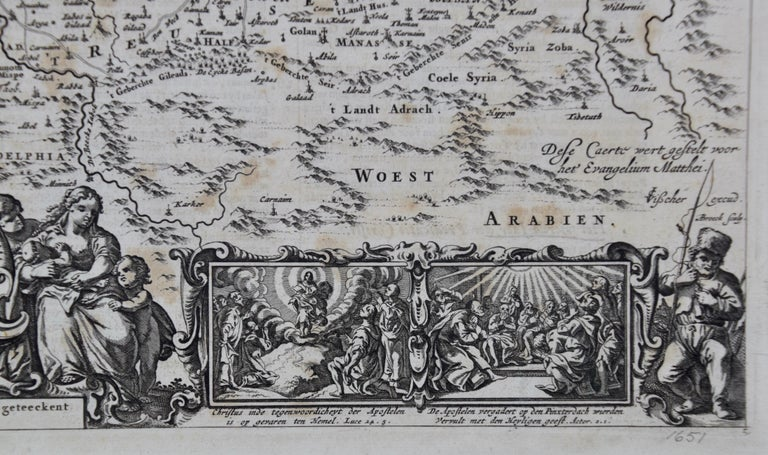 Paper 17th Century Dutch Map of the Holy Land at the Time of Jesus by Visscher For Sale