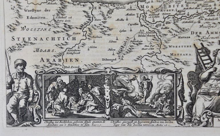 17th Century Dutch Map of the Holy Land at the Time of Jesus by Visscher For Sale 1