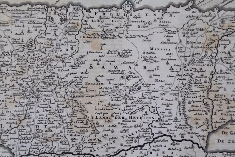 17th Century Dutch Map of the Holy Land at the Time of Jesus by Visscher For Sale 3