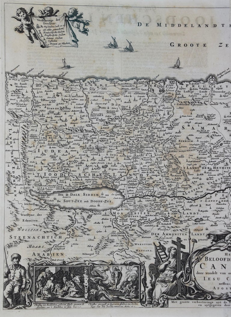 17th Century Dutch Map of the Holy Land at the Time of Jesus by Visscher For Sale 4