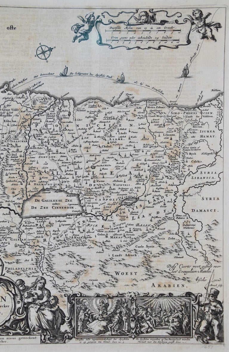 17th Century Dutch Map of the Holy Land at the Time of Jesus by Visscher For Sale 5