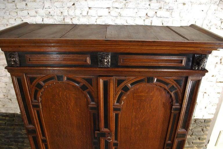17th Century Dutch Renaissance Oak and Ebony Two-Door Cabinet For Sale 9