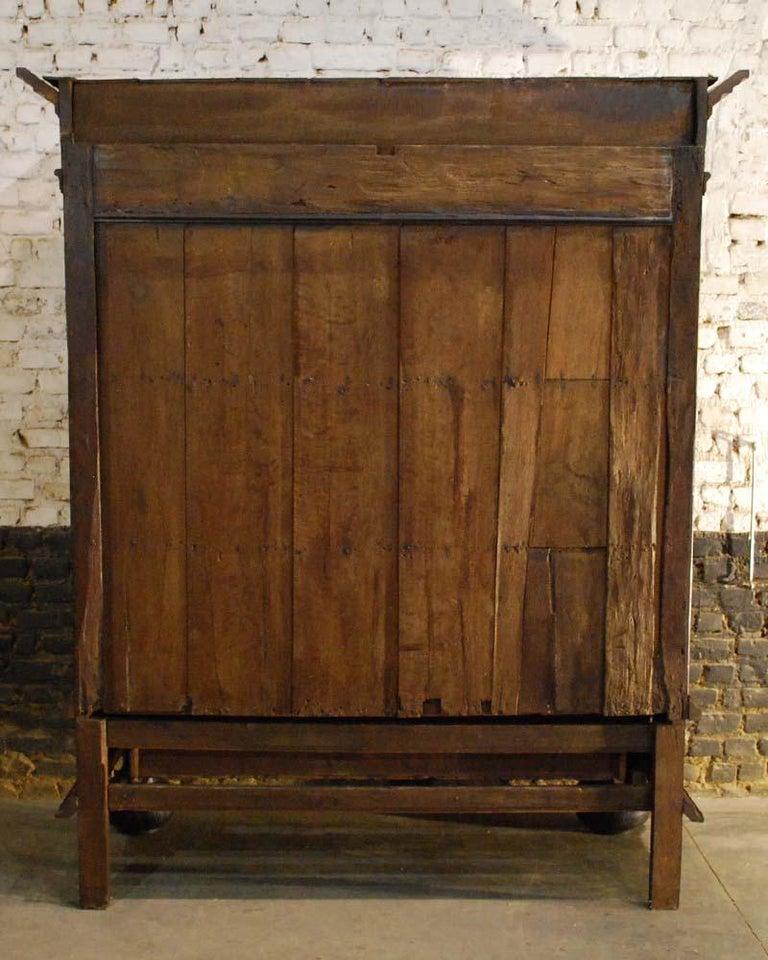 17th Century Dutch Renaissance Oak and Ebony Two-Door Cabinet For Sale 11
