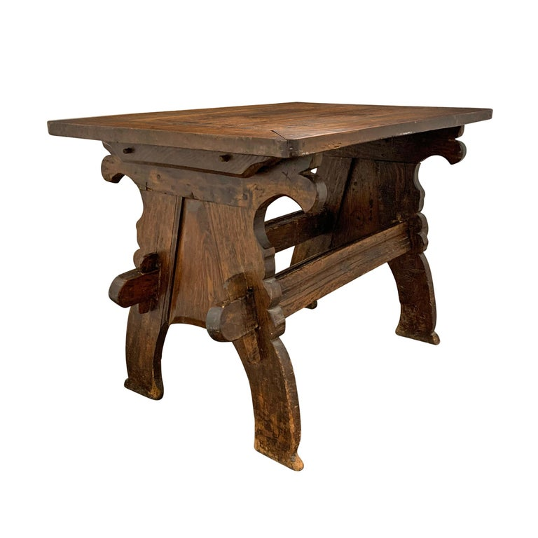 Hand-Carved 17th Century Dutch Trestle Table For Sale