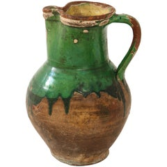 17th Century Earthenware Pitcher with Yellow and Green Glaze, Friesland