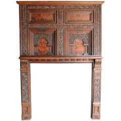 17th Century English Carved and Marquetry Inlaid Fire Surround / Mantel