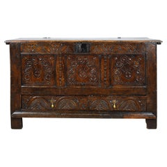 17th Century English Charles II Carved Oak Coffer