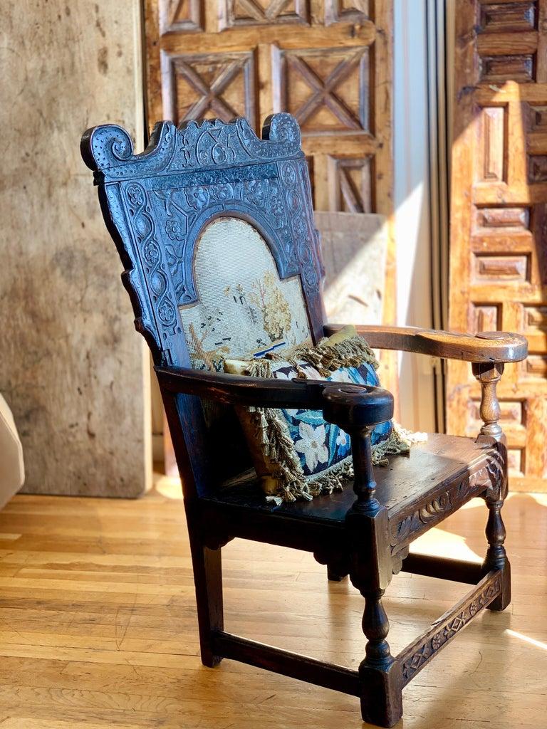 Walnut 17th Century English Jacobean Armchair For Sale