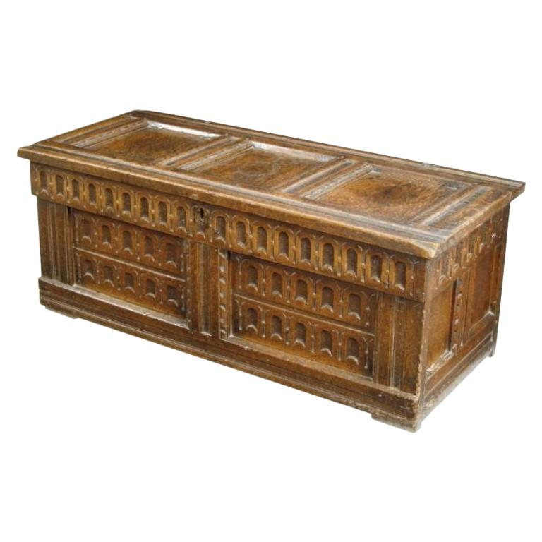 17th Century English Oak Chest For Sale