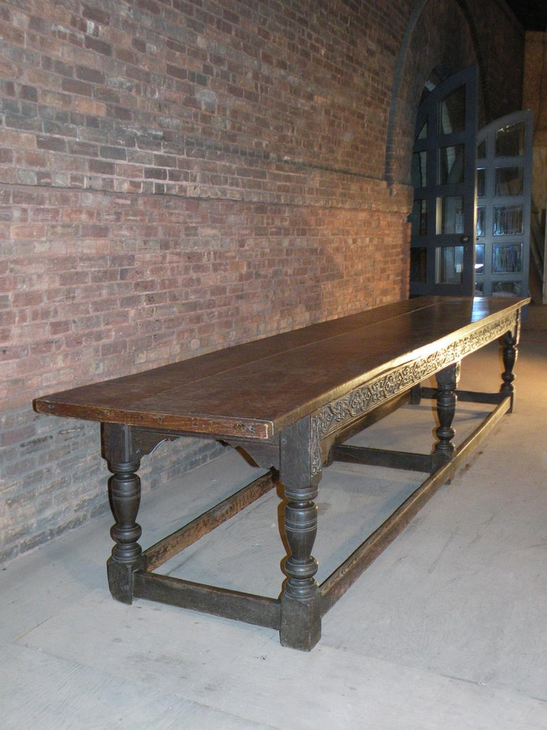 17th Century English Oak & Elm Jacobean/Charles II Long Six-Leg Refectory Table In Good Condition For Sale In Troy, NY