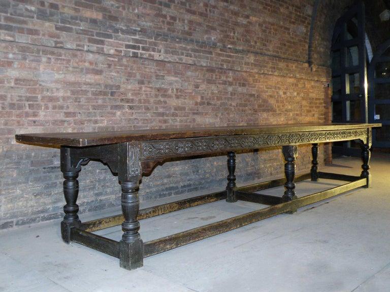17th Century English Oak & Elm Jacobean/Charles II Long Six-Leg Refectory Table For Sale 1