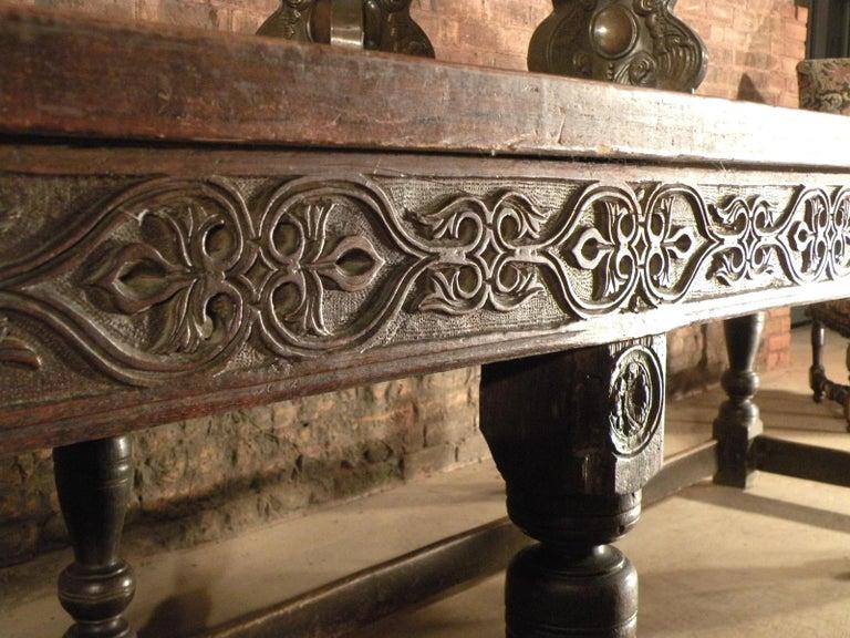 17th Century English Oak & Elm Jacobean/Charles II Long Six-Leg Refectory Table For Sale 2