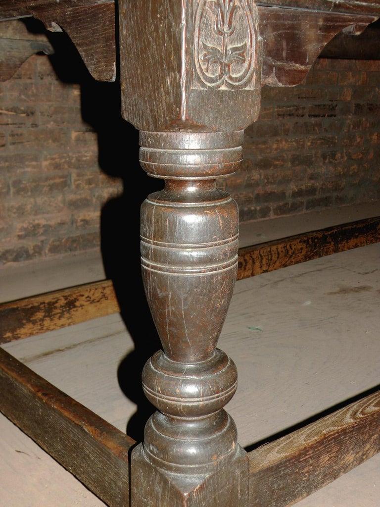 17th Century English Oak & Elm Jacobean/Charles II Long Six-Leg Refectory Table For Sale 5