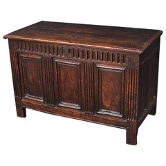 17th Century English Oak Joined Chest or Trunk