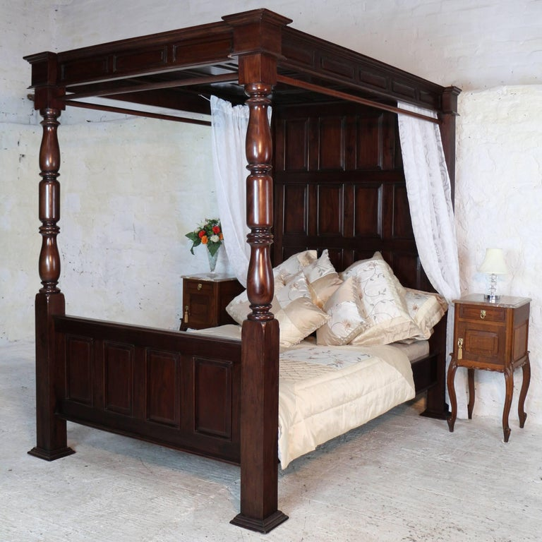17th Century English Style Panelled Mahogany Four-Poster