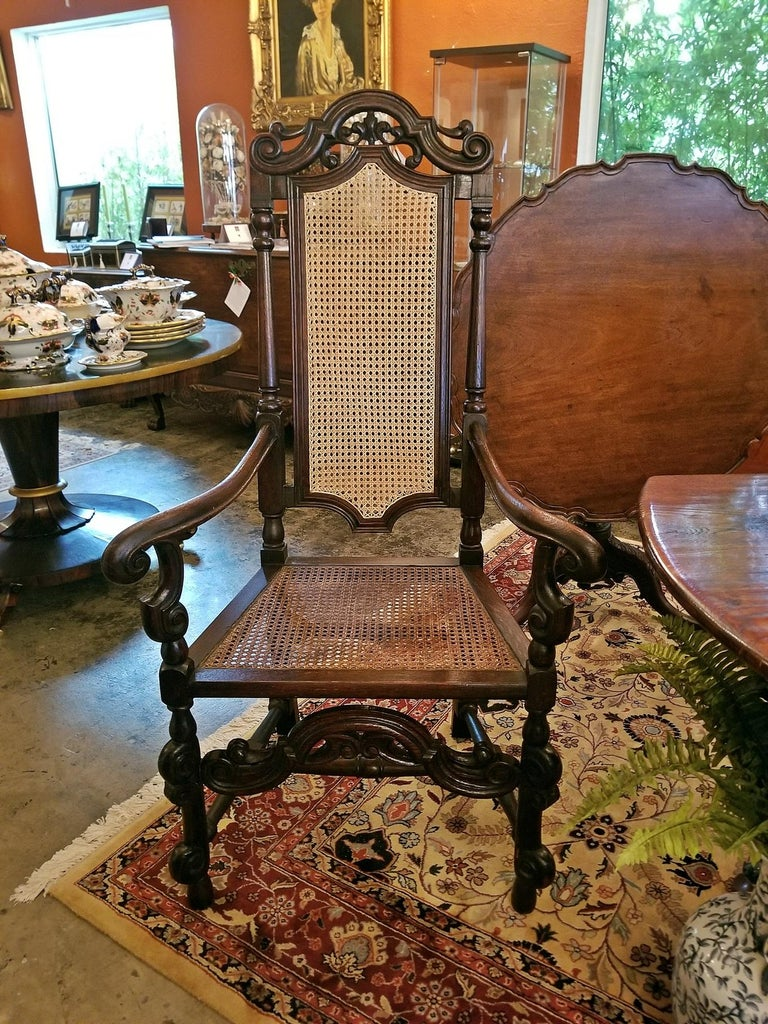 17th Century English William & Mary Oak and Cane Armchair For Sale 9