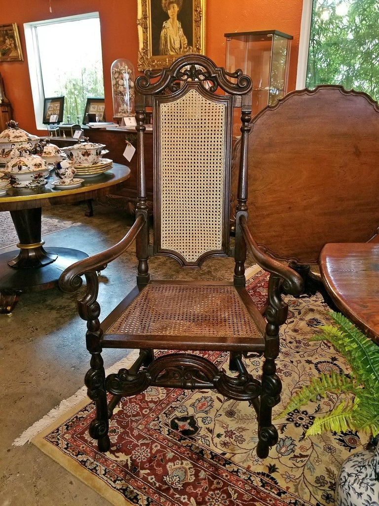 Hand-Carved 17th Century English William & Mary Oak and Cane Armchair For Sale