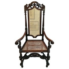 17th Century English William & Mary Oak and Cane Armchair