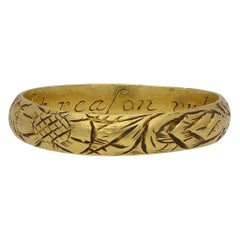 17th Century Engraved Gold Posy Ring, 'Let Reason Rule Affection', circa 1600