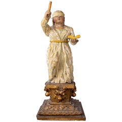 17th Century European Justitia Wooden Sculpture Standing on Gold Gilded Pedestal