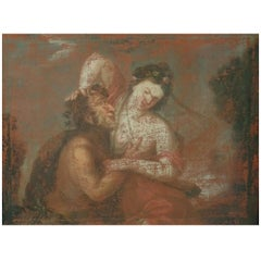 17th Century European Painting, Struggle between Satyr, Pan and a Woman