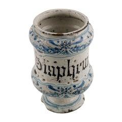 "17th Century Faenza ""Albarello"", Spool Pharmacy Jar, Pot, in Majolica Enameled"