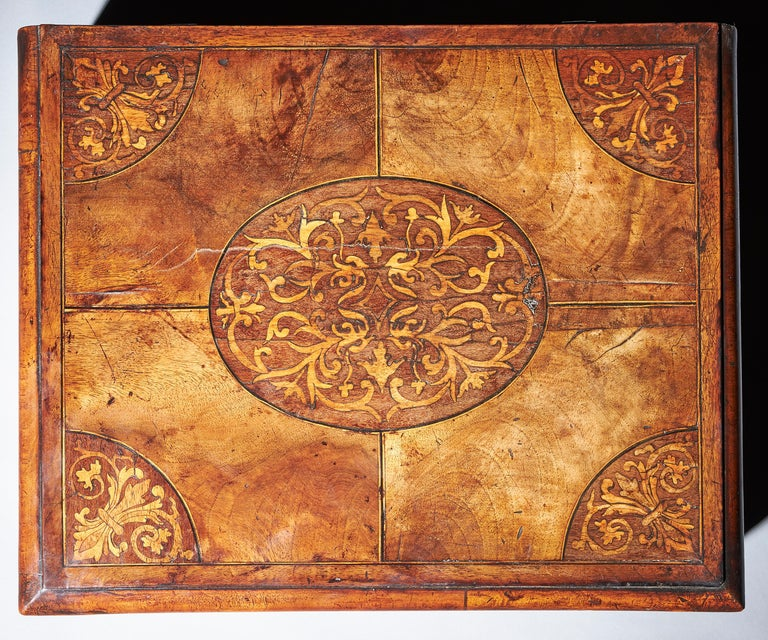 A fine and extremely rare figured walnut and seaweed marquetry 'lace box', circa.... let's break it down - Seaweed marquetry first appeared in English cabinetwork in the late 17th century (Baroque period) though interestingly originated in Italy.